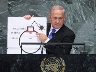 (120927) -- NUEVA YORK, septiembre 27, 2012 (Xinhua) -- El primer ministro de Israel, Benjamin Netanyahu, pronuncia un discurso durante el debate general del 67 periodo de sesiones de la Asamblea General de la Organizaci¨®n de las Naciones Unidas (ONU), en la sede de la ONU, en la ciudad de Nueva York, Estados Unidos de Am¨¦rica, el 27 de septiembre de 2012. (Xinhua/Shen Hong) (mp) (ce)