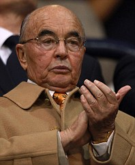 Tottenham Hotspur owner Joe Lewis (left) in the stands with chairman Daniel Levy (right)